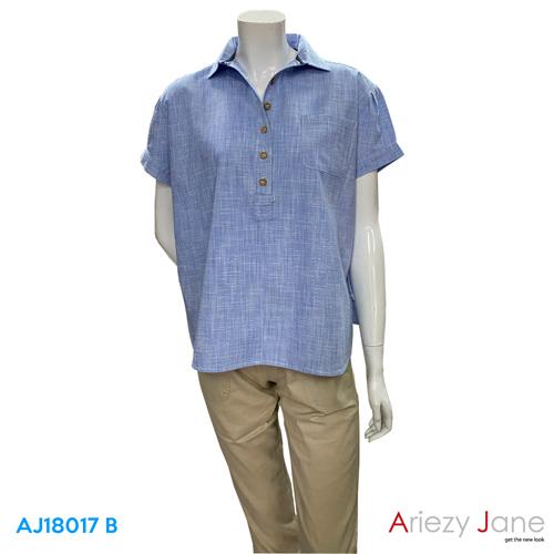 เสื้อเชิ้ต แขนสั้นกระดุมหน้า AJ-18017 B