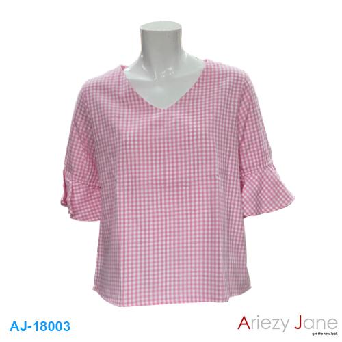เสื้อคอวีแขนระบายสต๊อต สีชมพู AJ-18003
