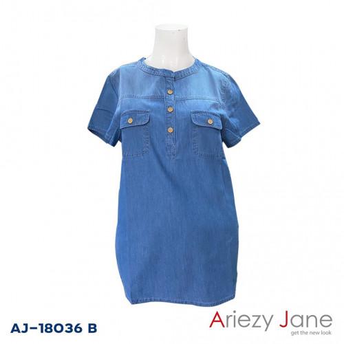 เสื้อยีนส์แชมเบ้ฟอกสีกลาง AJ-18036 B