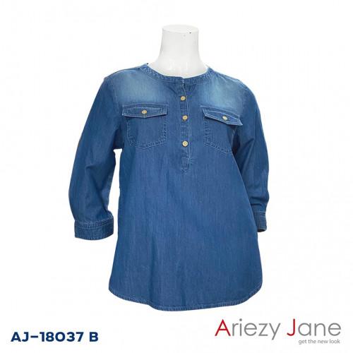 เสื้อยีนส์แชมเบ้ฟอกสีเข้ม  AJ-18037 B