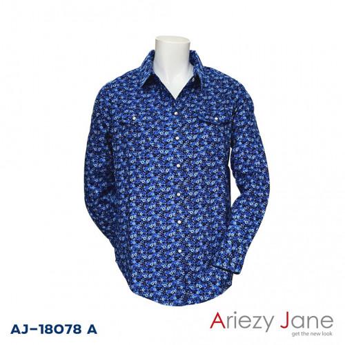 เสื้อเชิ้ตแขนยาว ลายดอกสีกรมท่า  AJ-18078 A