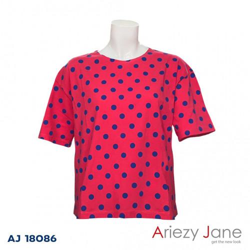 เสื้อยืดชมพูลายจุดนำ้เงิน  AJ-18086