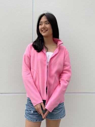 เสื้อคาร์ดิแกนผ้า Fleece สีชมพู  AJ-18092 A