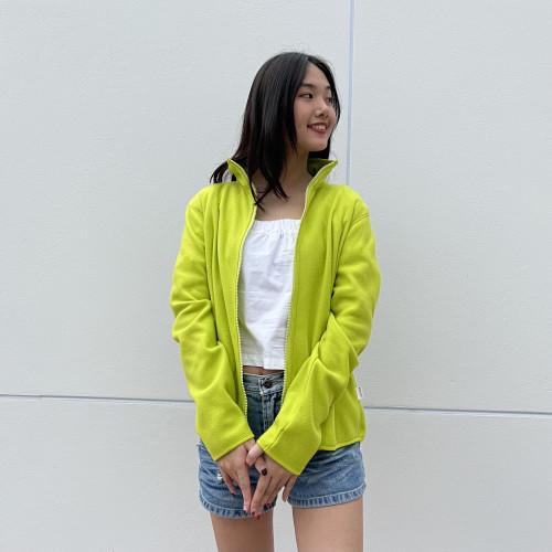 เสื้อคาร์ดิแกนผ้า Fleece สีเขียวมะนาว  AJ-18092 B 2