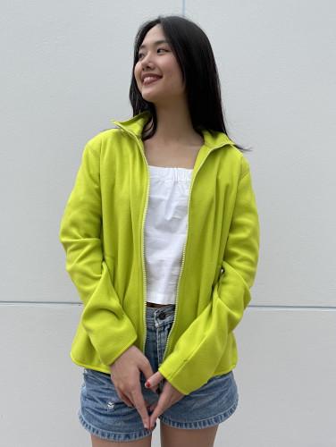 เสื้อคาร์ดิแกนผ้า Fleece สีเขียวมะนาว  AJ-18092 B 1