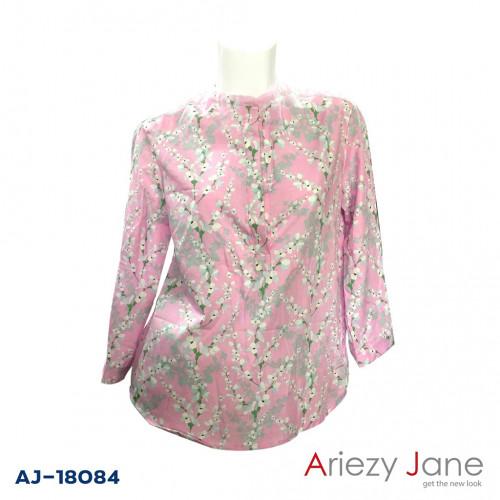 เสื้อคอจีนแขน3/4 ลายดอกสีชมพู  AJ-18084