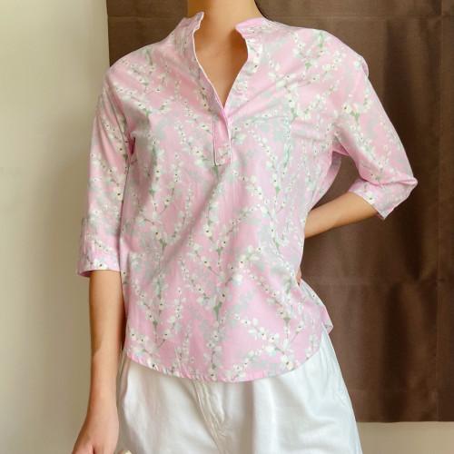 เสื้อคอจีนแขน3/4 ลายดอกสีชมพู  AJ-18084 1