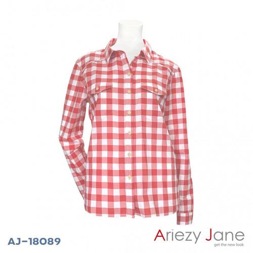 เสื้อเชิ้ตสก๊อตสีแดงขาว  AJ-18089