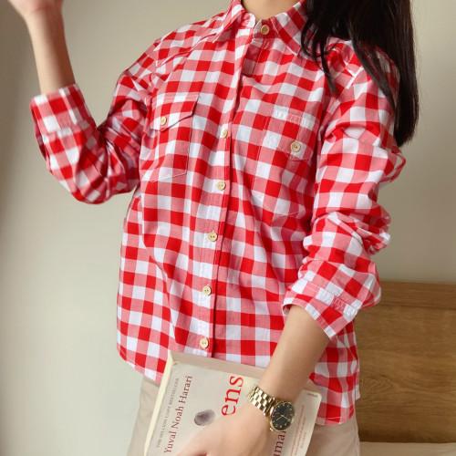 เสื้อเชิ้ตสก๊อตสีแดงขาว  AJ-18089 1
