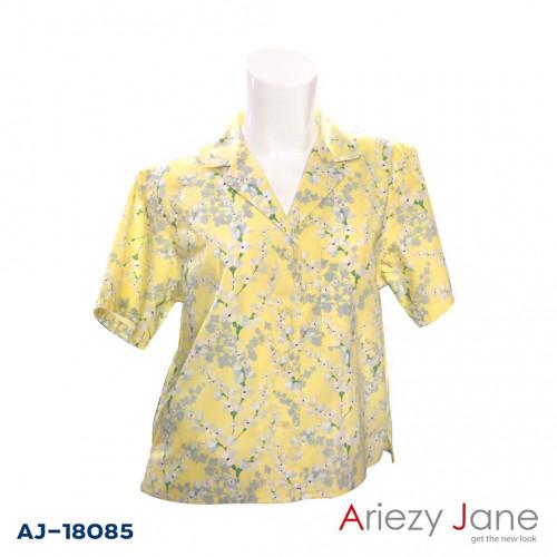 เสื้อฮาวายแขนสั้น ลายดอก สีเหลือง  AJ-18085