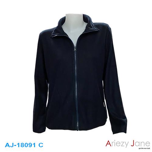 เสื้อคาร์ดิแกนผ้า Fleece  3 สี ดำ กรมท่า กากี AJ-18091A/B/C 2