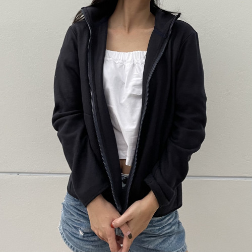 เสื้อคาร์ดิแกนผ้า Fleece  3 สี ดำ กรมท่า กากี AJ-18091A/B/C