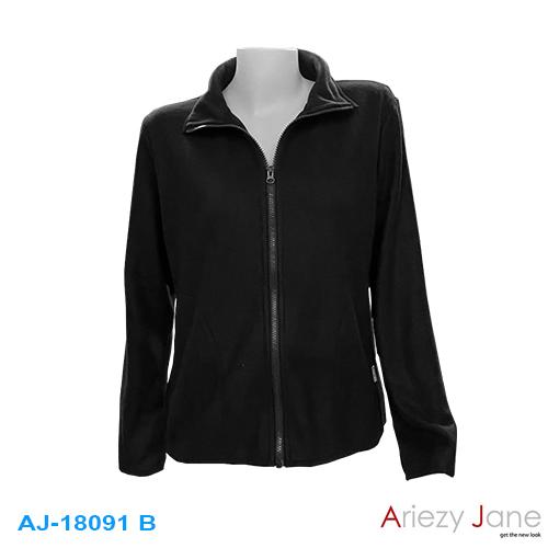 เสื้อคาร์ดิแกนผ้า Fleece  3 สี ดำ กรมท่า กากี AJ-18091A/B/C 1