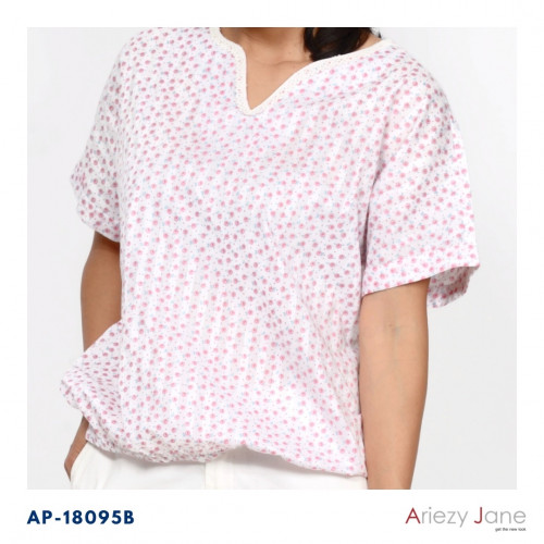 เสื้อแขนสั้นผ้าซาตินพิมพิ์ลาย AJ-18095