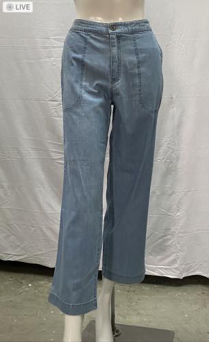 กางเกงยีนส์ขาบานฟอกสีกลางโชว์ตะเข็บขอบหน้ายางหลังกระเป๋าคู่หน้า AP-18074 2