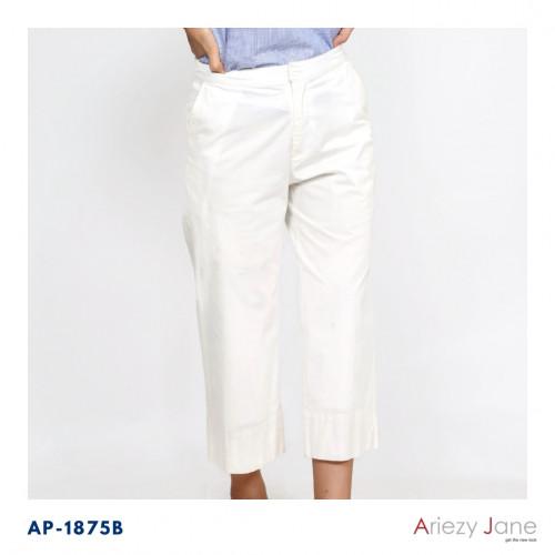 กางเกงขาบานเอวขอบหน้ายางหลังกระเป๋าคู่หน้า ผ้าค้อตต้อนสแปนเด็กซ์ AP-18075 Ankle Pant