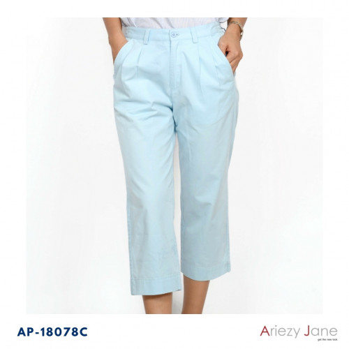 กางเกงทรง5 ส่วนขอบหน้ายางหลังกระเป๋าคู่หน้า ผ้าซาตินญี่ปุ่นสแปนเด็กซ์ AP-18078 Ankle Pant