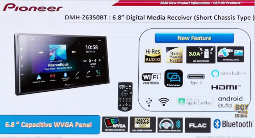 Pioneer DMH Z6350bt Digital Media Car Receiver 6.8inches short chasis type (ชนิดตัวบอดี้สั้น ติดตั้ง