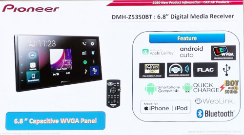 Pioneer DMH Z5350bt Digital Media Receiver 6.8 inches จอคาปาซิทีฟ สีสันคมชัด มาพร้อมใช้งาน apple car