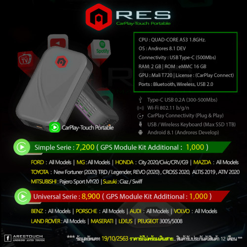 ARES Carplay touch เสียบทางช่อง USB เดิมรถที่มีฟังก์ชั่น Carplay ก็ทำให้คุณดู Youtube หรือ Video ได้