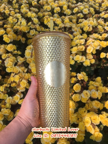 Starbucks 2020 Limited Edition Golden and Gold Iridescent Studded Tumbler with lid and straw 24 oz 4
