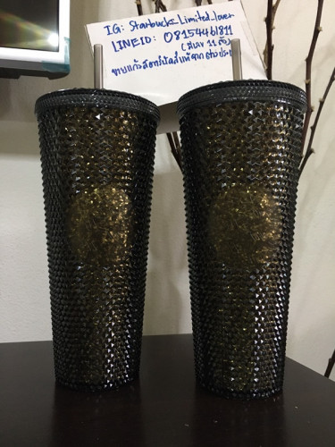 Starbucks 2020 Limited Edition Golden and Gold Iridescent Studded Tumbler with lid and straw 24 oz 8