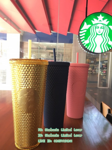 Starbucks 2020 Limited Edition Golden and Gold Iridescent Studded Tumbler with lid and straw 24 oz 2