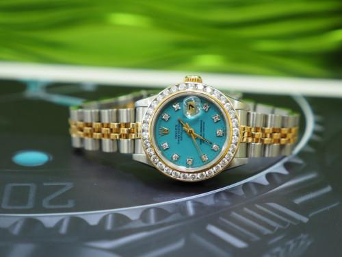 Rolex 69173 หน้าฟ้าฝังเพชร 10 ลูก พร้อบขอบฝังเพชร