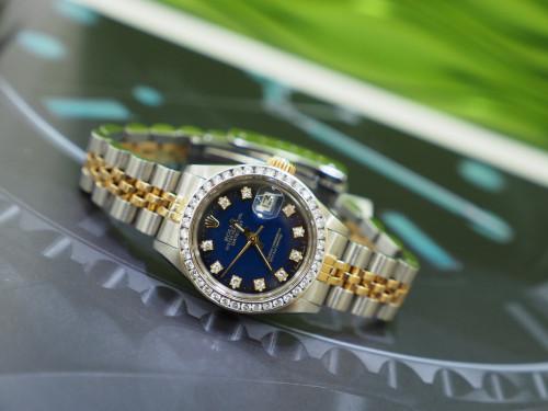 Rolex 6917 หน้าน้ำเงินฝังเพชร 10 ลูก พร้อบขอบฝังเพชร