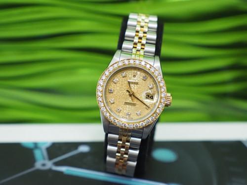 Rolex 69173 หน้าคอมทองฝังเพชร 10 ลูก ขอบฝังเพชร