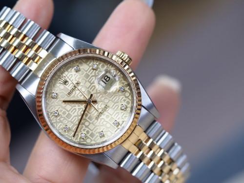 Rolex Date just 16233 คอมขาวฝังเพชร