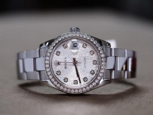 Rolex Date just 178383 คอมขาวฝังเพชร ขอบเพชร
