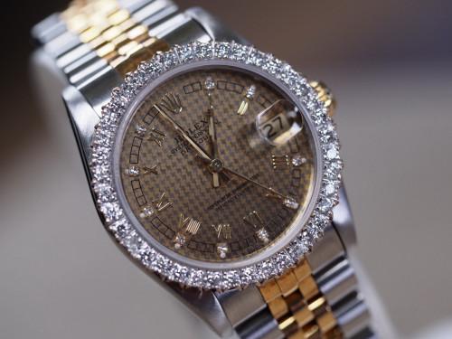Rolex Date just 68273 หน้าปัดดำทองโรมันเพชร ขอบเพชร