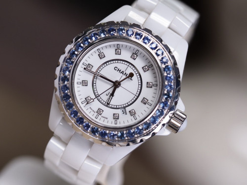 Chanel J12 Diamond White Ceramic Blue Supply 1