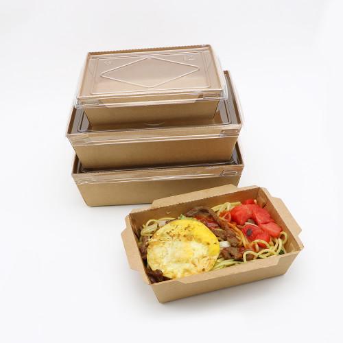 SKY กล่องอาหารคราฟท์ ด้านในน้ำตาล + ฝา PET 3 ขนาด