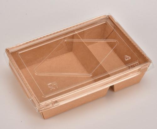 SKY กล่องอาหารคราฟท์ 2 ช่อง + ฝา PET
