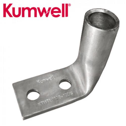 KUMWELL Copper Lugs High Voltage 2 hole Long Barrel 90° Pad Model. KTHL