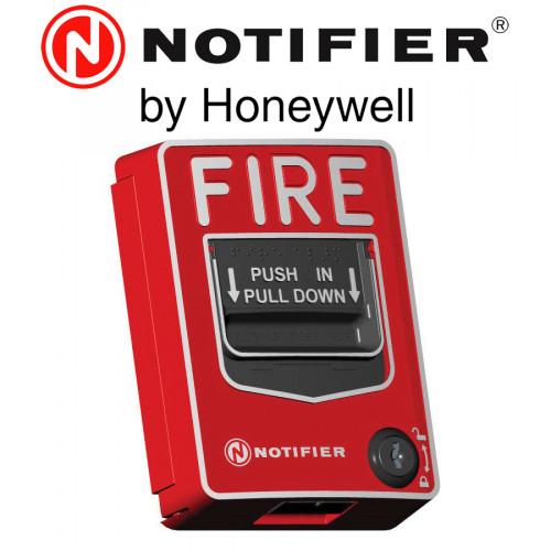 NOTIFIER Dual Action Lexan Releasing Station Abort ,Red Therminal block ,key lock Model. NBG12LRA