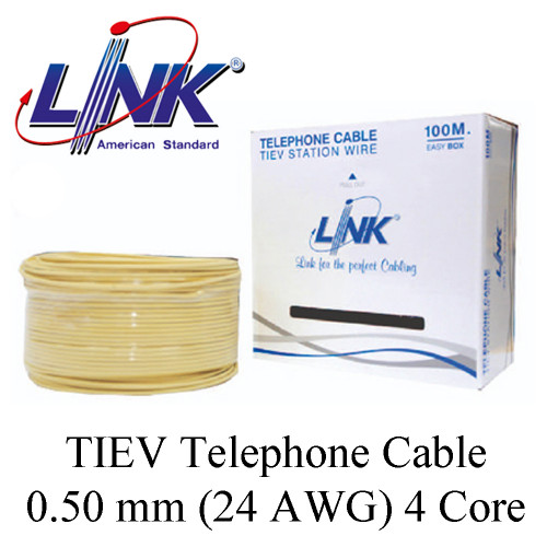 LINK TIEV Telephone Cable 0.50 mm (24 AWG) 4 Core Model. UL-1024 100 m.
