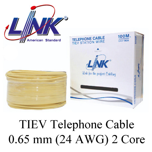 LINK TIEV Telephone Cable 0.65 mm (22 AWG) 2 Core Model. UL-1032 100 m.