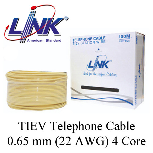 LINK TIEV Telephone Cable 0.65 mm (22 AWG) 4 Core Model. UL-1034 100 m.