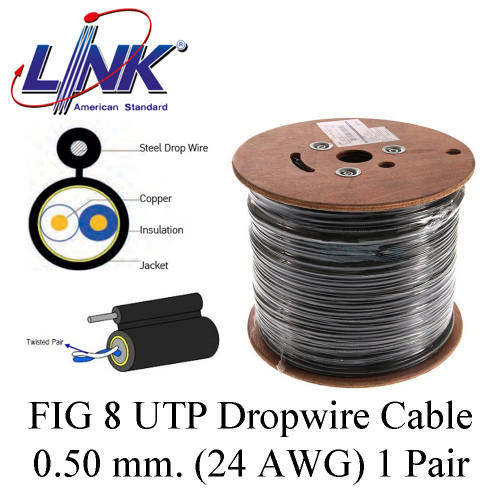 LINK FIG 8 UTP Dropwire Cable 0.50 mm. (24 AWG) 1 Pair Model. UL-1102  200 m.