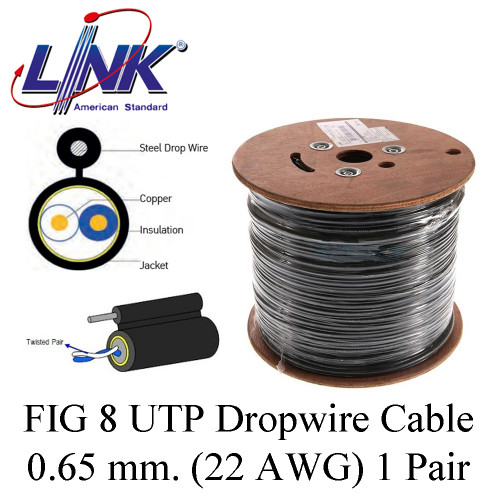 LINK FIG 8 UTP Dropwire Cable 0.65 mm. (22 AWG) 1 Pair Model. UL-1112  200 m.
