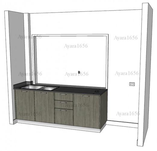 ชุดครัว Built-in โครงซีเมนต์บอร์ด หน้าบาน Laminate สี Delano Oak - ม.ศุภาลัย วิลล์ 9
