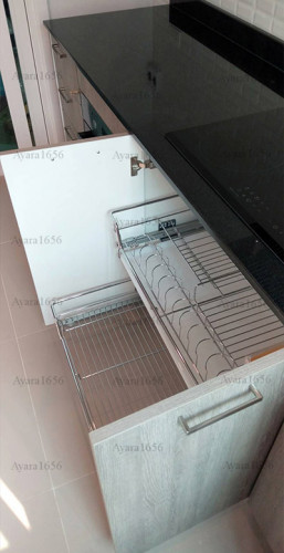 ชุดครัว Built-in โครงซีเมนต์บอร์ด หน้าบาน Laminate สี Delano Oak - ม.ศุภาลัย วิลล์ 4