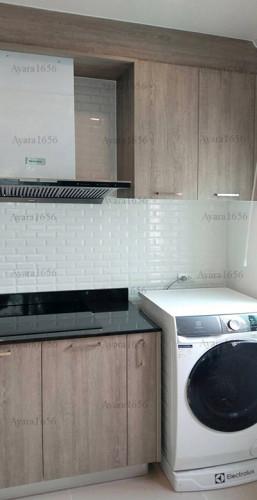 ชุดครัว Built-in โครงซีเมนต์บอร์ด หน้าบาน Laminate สี Delano Oak - ม.ศุภาลัย วิลล์ 2