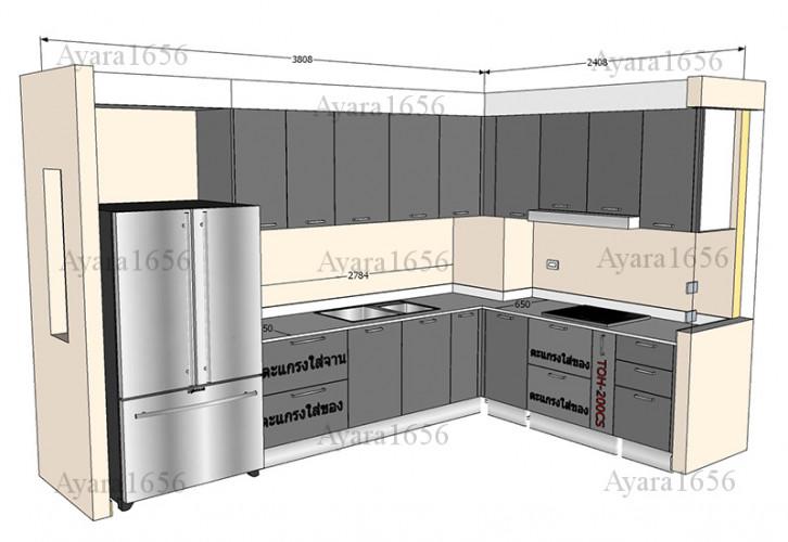 ชุดครัว Built-in โครงซีเมนต์บอร์ด หน้าบาน Hi Gloss สีเทาเงา - ม.ภัสสร 2
