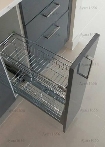 ชุดครัว Built-in โครงซีเมนต์บอร์ด หน้าบาน Hi Gloss สีเทาเงา - ม.ภัสสร 3