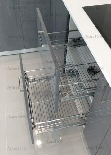 ชุดครัว Built-in โครงซีเมนต์บอร์ด หน้าบาน Hi Gloss สีเทาเงา - ม.ภัสสร 6