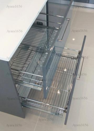 ชุดครัว Built-in โครงซีเมนต์บอร์ด หน้าบาน Hi Gloss สีเทาเงา - ม.ภัสสร 7